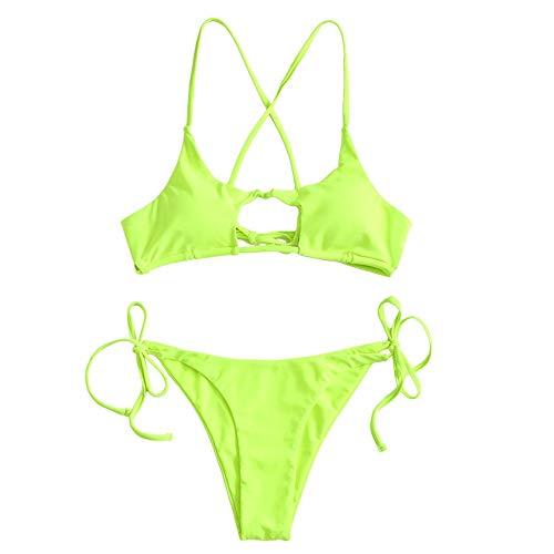 Zaful Damen Strand Bademode Neon Cutout Tie Side Bikini Set Badeanzug...