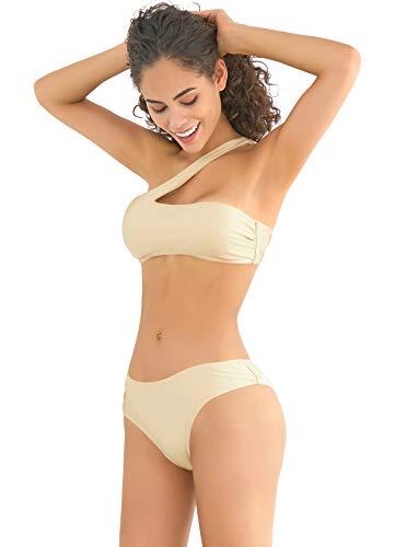SHEKINI Damen Sommer Bikini Bauchweg Strand Bikini Schulterlos Bikinis...