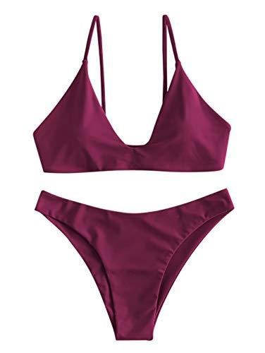 ZAFUL Damen Spaghetti-Träger Bikini Set Rot S