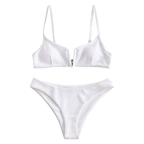 ZAFUL Damen Spaghetti-Träger V Cut Bikini Set Solide Badeanzug Weiß...