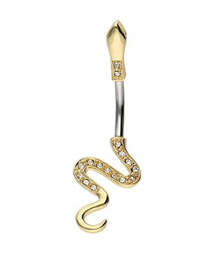 SIX Bananabell Piercing Schlangen-Form vergoldet mit Strasssteinen,...