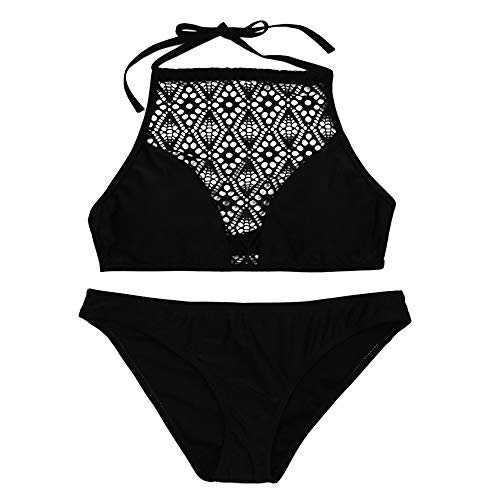 IZHH Damen Bikini Set, Sandstrand BH schwarzer Netz Openwork Badeanzug...