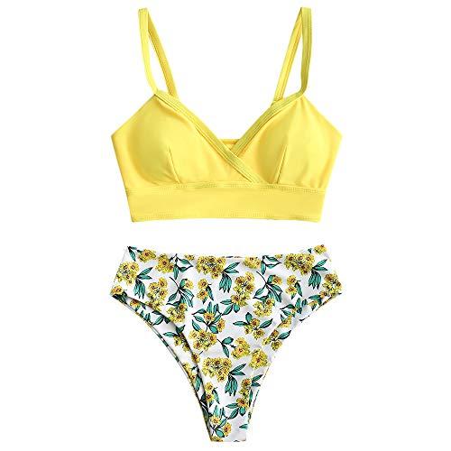 ZAFUL Damen Push up High Waisted Floral Bikini Set Bademode Gelb XL