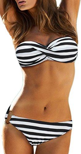EUDOLAH Damen Bandeau Padded Bikini-Set Trägerlosen Badeanzug Push Up...