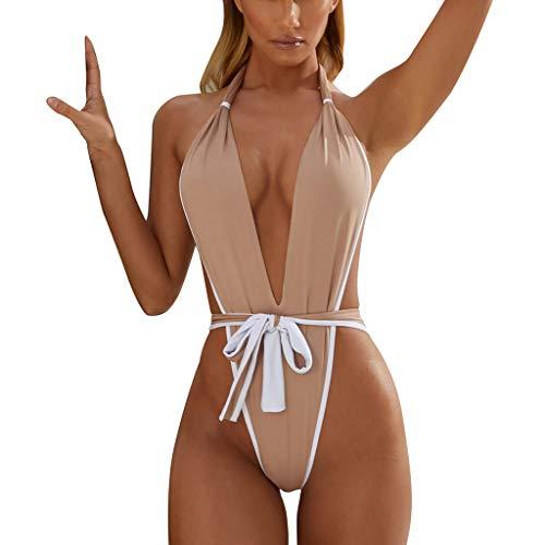 LILIHOT Damen Print Siamese Bandage Badeanzug Pulled Bikini Mit V-Form...