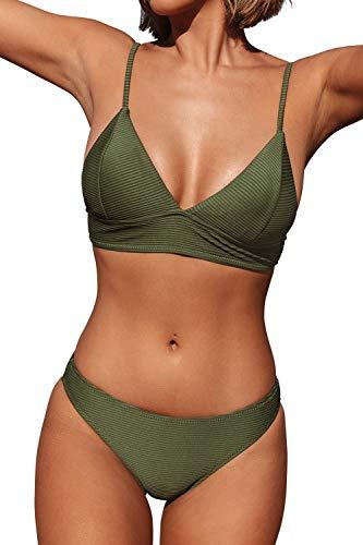 CUPSHE Damen Bikini Set Triangel Breites Unterbrustband Gerippte...