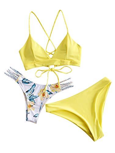 ZAFUL Damen Spaghetti-Träger Low Waisted Bikini Set Badeanzug Gelb S