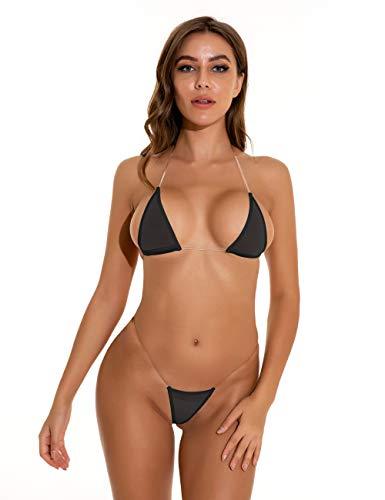 Afom Sexy Damen-Bikini, durchsichtig, Mini-BH, durchsichtig, G-String...