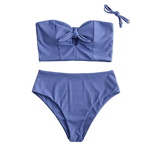 ZAFUL Damen Einfarbiger Trägerlos Bandeau Bikini Set Gerippter...