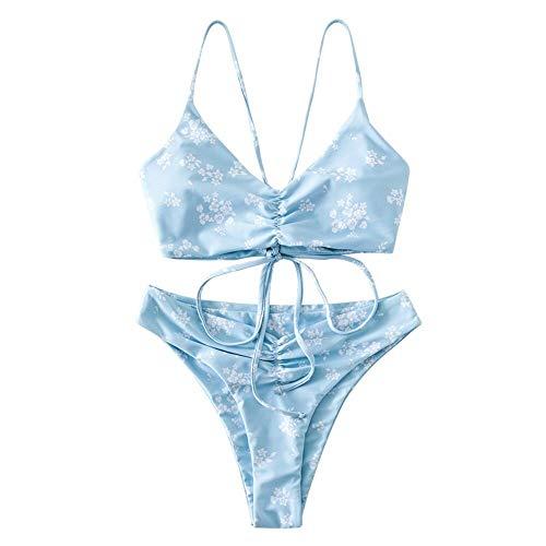 ZAFUL Damen Ditsy Print Rüschen Schnür Bikini Set Blumen...