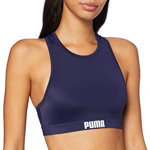 PUMA Frauen Racerback Swim Top Bikini Oberteil, Navy, XL