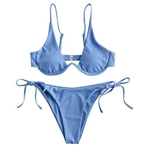 ZAFUL Damen Zweiteiliger Bügel Bikini-Set, Leopardenmuster Criss...