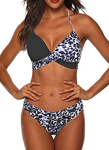 CheChury Damen Bikini Set Verstellbar Klassischer Crossover Ties-up...