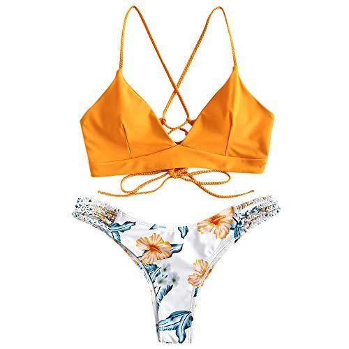 ZAFUL Damen Floral Leaf Lace Up Geflochtener Floral Bikini Set...