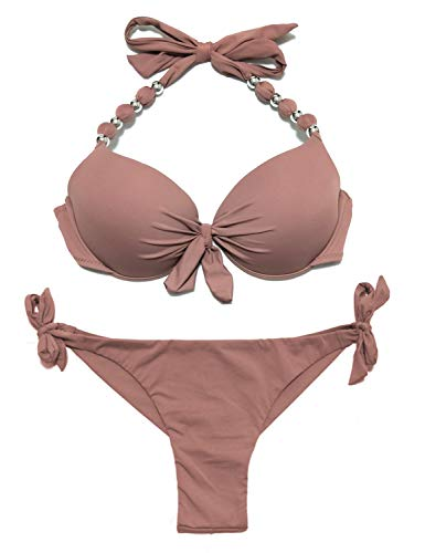 EONAR Damen Bademode Push up Bikini-Oberteil mit Bügel Niedriger Bund...