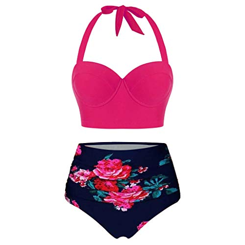 Lulupi Damen Push Up Bikini Neckholder Große Cups Badeanzug...