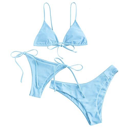 ZAFUL Damen Gepolstert Spaghetti-Träger 3 Pieces Bikini Beachwear...