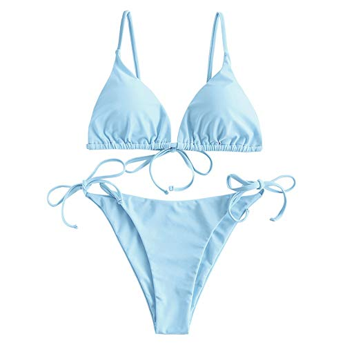 ZAFUL Damen Gepolstert Bikini Set, Einfarbig Bikini Badeanzug mit...