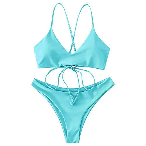 ZAFUL Damen Criss Cross Lace Up Gepolstert Bikini Set Badeanzug...