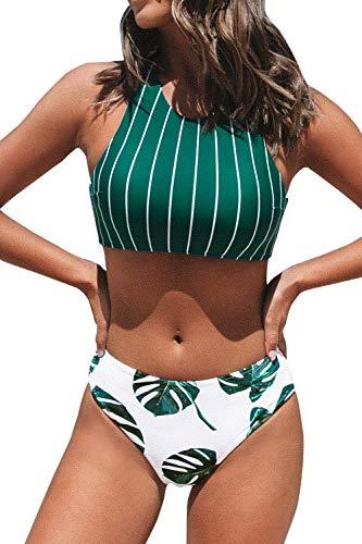 CUPSHE Damen Bikini Set Bustier Bikini mit gekreuztem Rückendetail...