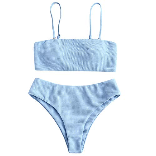ZAFUL Damen Bikini Set, Texture Bandeau Bikini Set mit Gepolsterter...
