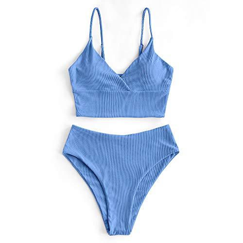 ZAFUL Damen Spaghetti-Träger Solide Bikini Set Blau XL