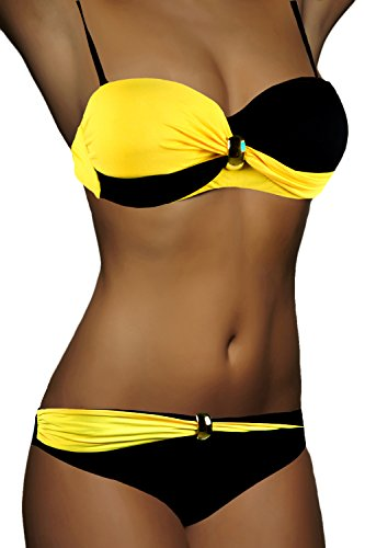 ALZORA Bandeau Twist Push Up Bikini Set Damen Pushup Top und Hose...