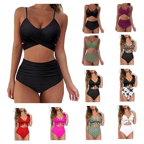 Bikini Damen High Waist Sexy Pushen Up Schwarz, Badeanzüge für Damen...