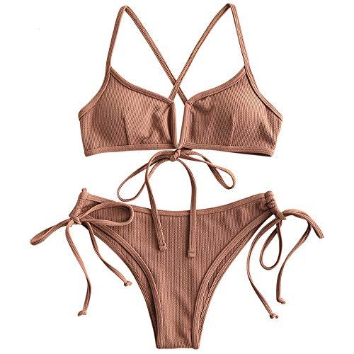 ZAFUL Damen Spaghetti-Träger Lace Up V-Neck Bikini Set Badeanzug...