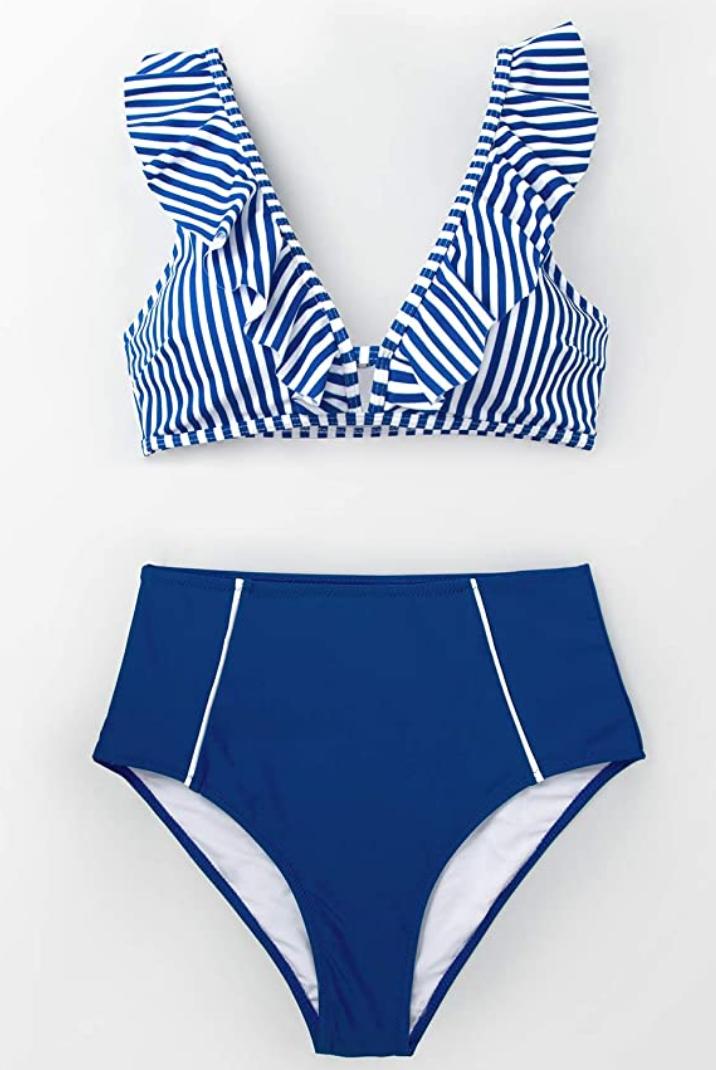 CUPSHE Damen Bikini Set Rüschen Bikinioberteil Top mit High Waist Bikinihose